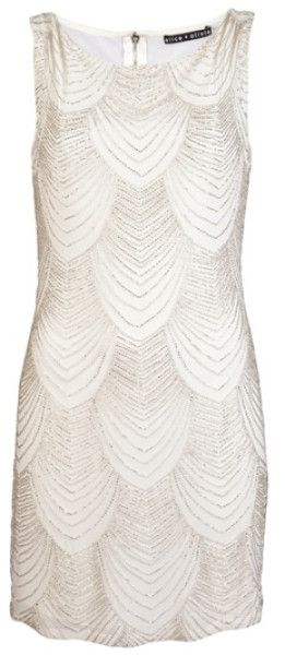 Alice + Olivia White Sequin Dress