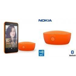 Głośnik BT Nokia MD-12 Orange   wysokość: 38 mm średnica: 84 mm waga: 180 g maksymalny czas odtwarzania muzyki: 15 godzin wbudowana bateria jonowa Nokia BL-5C o pojmność 1020 mAh maksymalny czas ładowania: 180 minut maksymalne parametry wyjściowe: 95 dB przy 0,5 m parowanie urządzeń przez NFC Bluetooth 3.0 + HS zasięg komunikacji Bluetooth:10 m profile Bluetooth: profil zestawu słuchawkowego (HSP) 1.2, profil zestawu głośnomówiącego (HFP) 1.6 złącze ładowania: microUSB złącze AV: Jack 3,5 mm