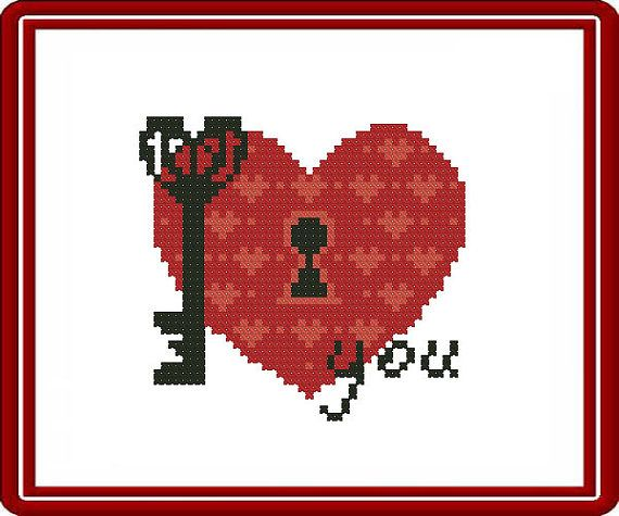 PDF. I Love You. Cross stitch pattern modern by SecretFriends