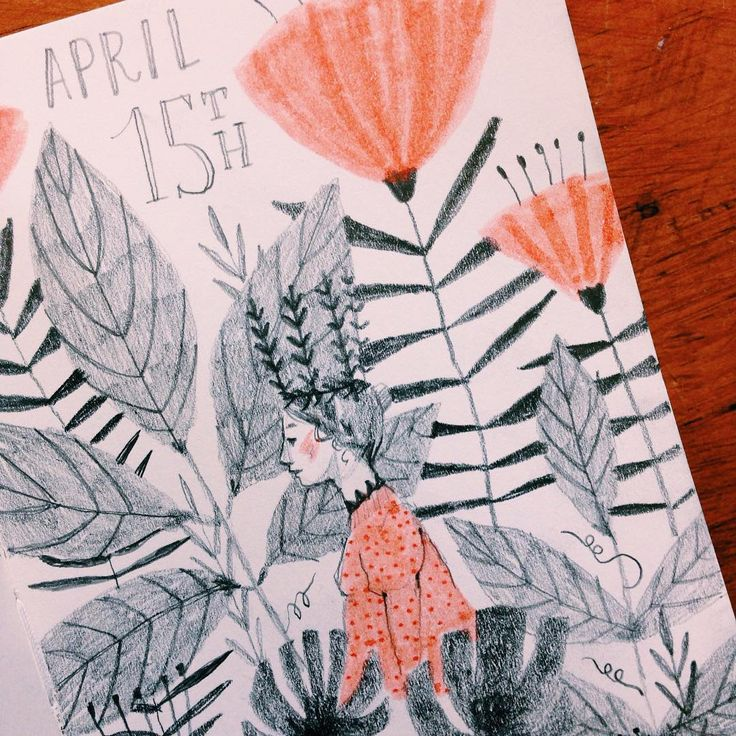 Sketchbook page for April 15th by @abigailhalpin Abigail Halpin, artist.