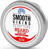 Beard Balm for Men  Best Leave-In Wax Beard Conditioner With Shea Butter and Argan Oil  Styles Strengthens and Thickens Without a Brush or Trimmer! Perfect for Beard Growth  2 OZ  Smooth Viking