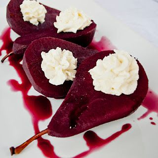 red wine poached pears + vanilla bean mascarpone filling