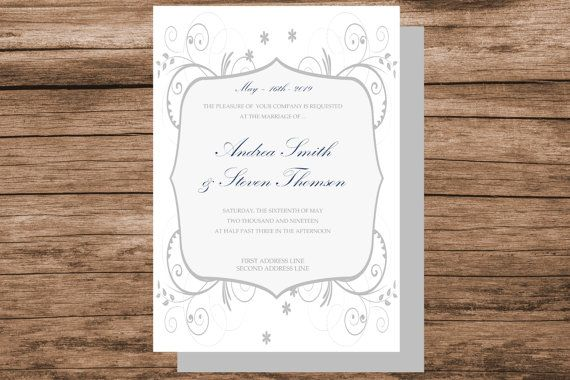 DIY floral swirls wedding invitation by WeddingTemplatesHub