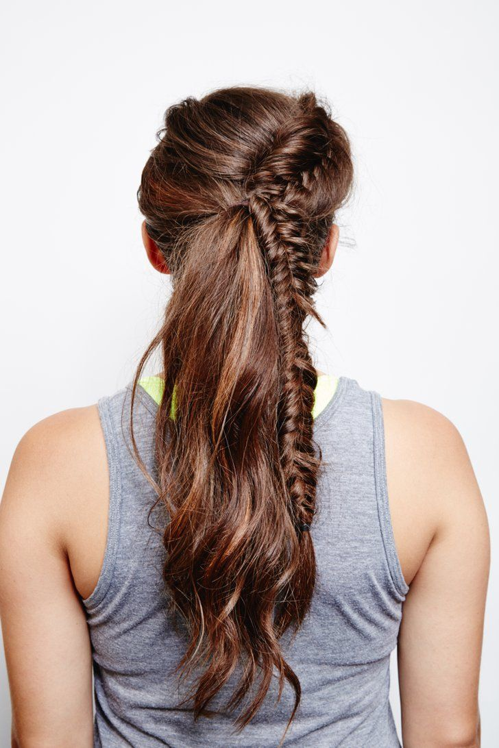Pin for Later: DIY This French Fishtail Ponytail Before Your Next Cardio Workout French Fishtail Ponytail: Final Look