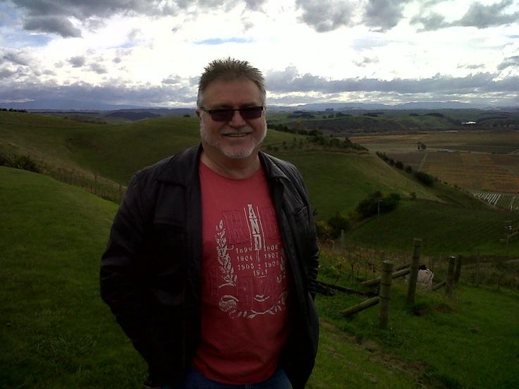 Overlooking Trinity Hill vineyards with John Hancock