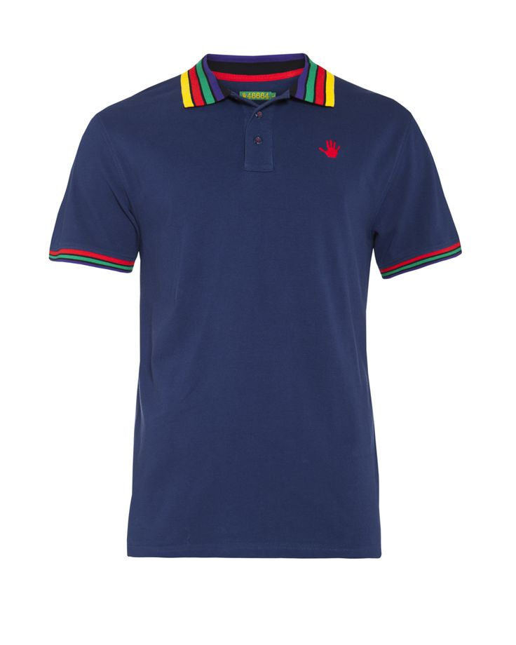 Men's multi- tipped golfer with striped collar in blue. Available at www.46664fashion.com