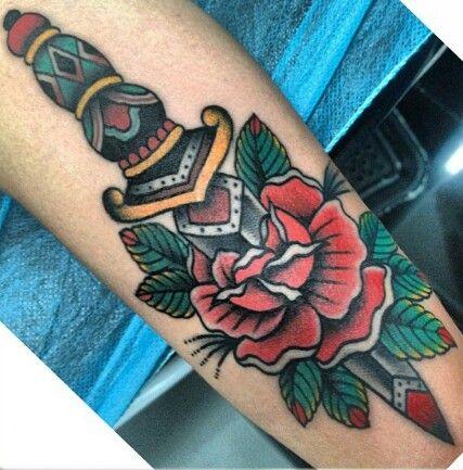 @bara_madrid Dagger tattoo old school