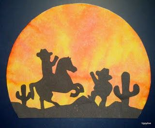 Western sunset scene - could simplify with just a big cactus