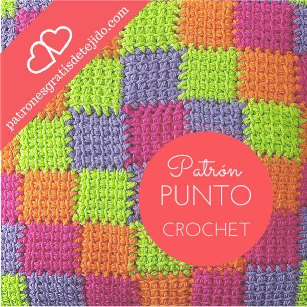 Crochet y dos agujas c mo tejer a cuadros al crochet paso - Mantas de crochet paso a paso ...