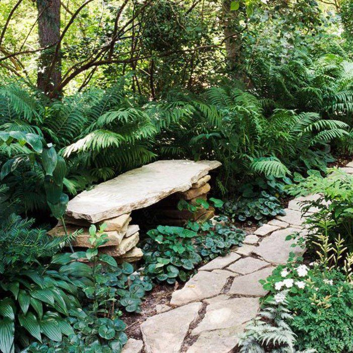 banc de jardin en pierre, banc de jardin en pierre, jardin moderne