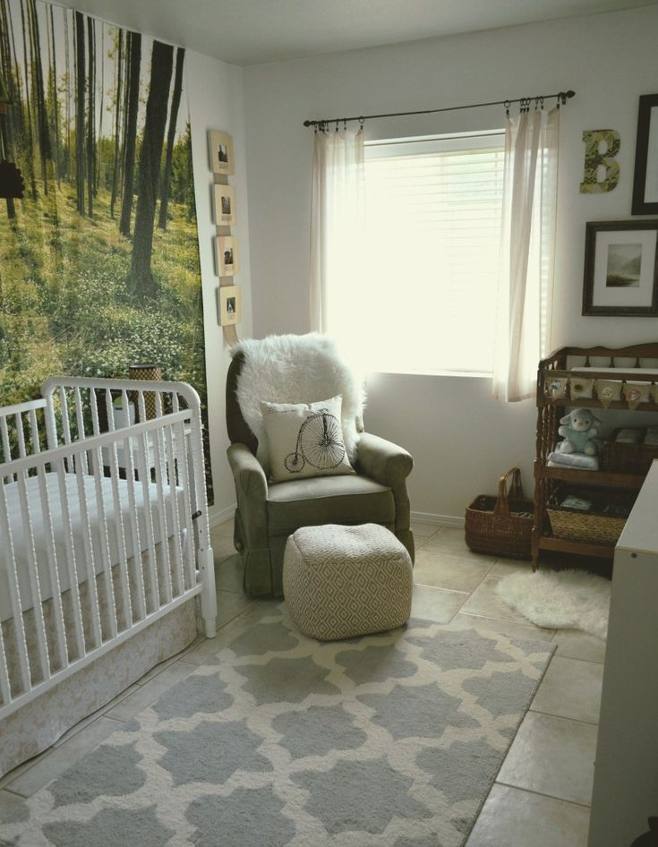 "Love the touches of modern and whimsy in this ""woodsy"" nursery!"