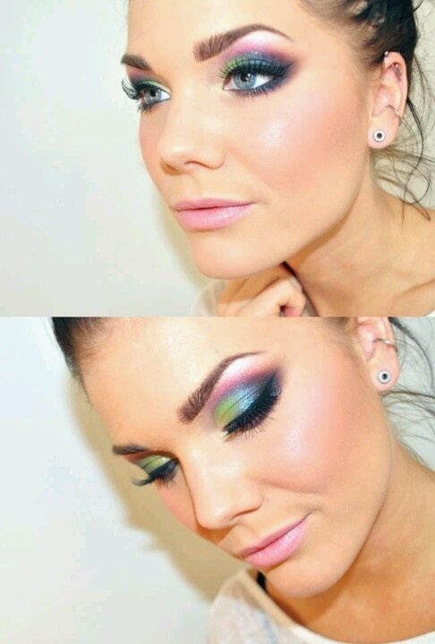 Beautiful and fun 80's colorful makeup. The brighter, the better!