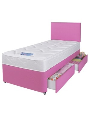 Silentnight kids single divan bed with storage drawers and for Single divan beds with mattress and headboard