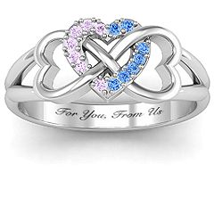 Triple Heart Infinity Ring. Put the birthstones of both kids in the centre heart to personalize! #jewlr