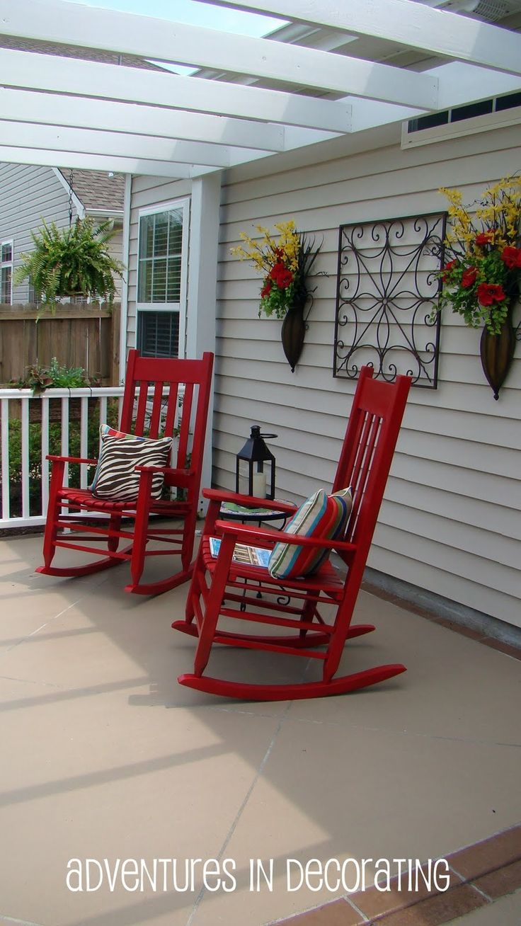 Porch rocking chairs which slicked up with red cushion of front porch - The Chic Technique Adventures In Decorating Red Rocks Find This Pin And More On Outdoors By Drene2318 Red Rockers Paint Front Porch