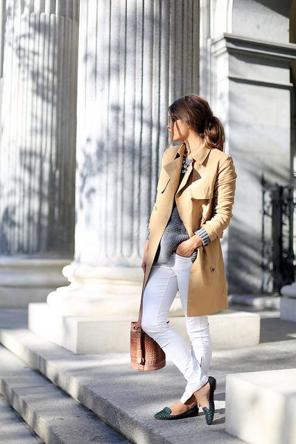 A classic trench, sunnies at the ready and white streamlined jeans help to create a uniform look that looks pulled together, comfortable and timeless. via The Simply Luxurious Life®