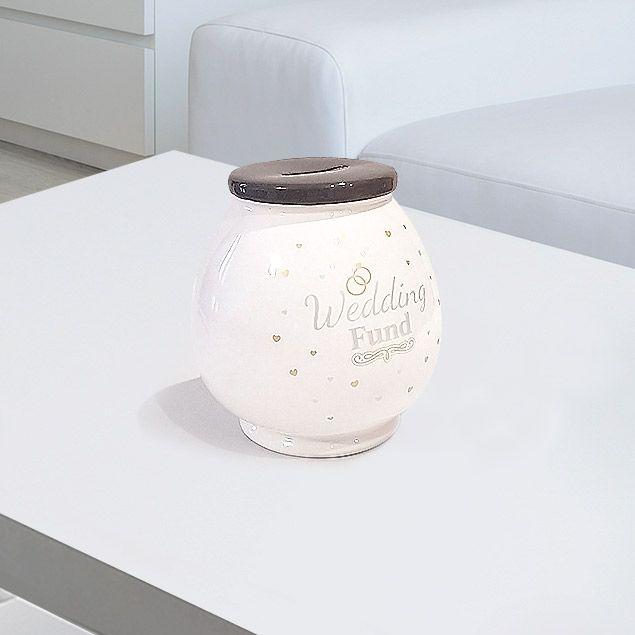 "Luxury Wedding Fund Money Box to help them start saving for their big day. Luxury white Money Box With ""Wedding Fund"" Text - Gift Boxed"