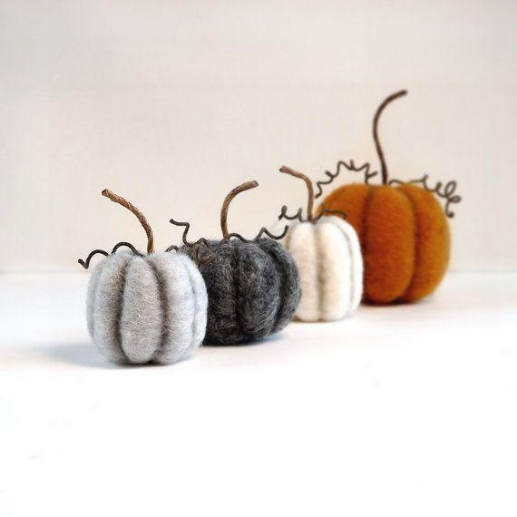 Gevilte miniaturen rustieke Fall herfst pompoen Decor Set van 4 - Thanksgiving Decor Halloween tafeldecoratie Made To Order