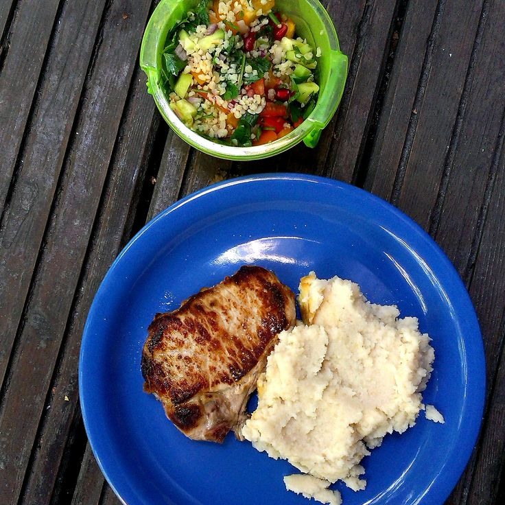 #pork #steak #lunch #cauliflower #mashed #salad #fresh #foodcoaching #easypeasy