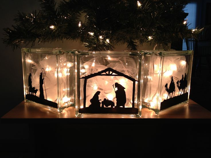 Lighted glass block nativity.