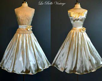 años 50 chaqueta de encaje de Alençon Vintage de velas falda satén boda vestido L