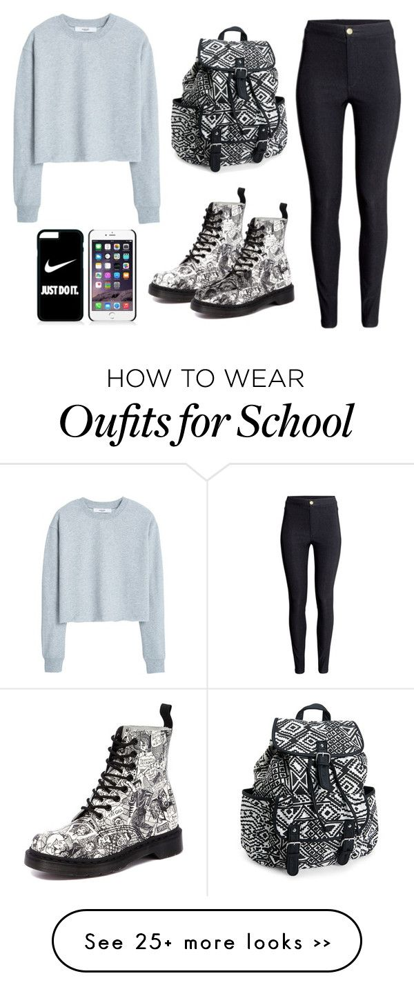 """""""School outfit"""" by leonormoral on Polyvore featuring MANGO, H&M, Dr. Martens, Aéropostale and NIKE"""