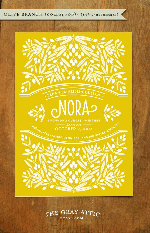 Birth Announcement (Olive Branch - Goldenrod) - Yellow, Modern Botanical