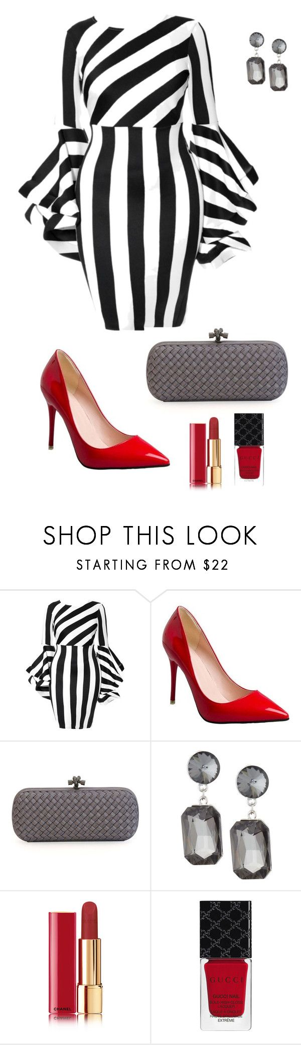 """Untitled #871"" by ladyasdis ❤ liked on Polyvore featuring Bottega Veneta, Kenneth Jay Lane, Chanel and Gucci"