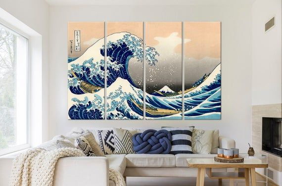 Great Wave Off Kanagawa Painting Great Wave Canvas Print Etsy In 2021 Japanese Wall Decor Japanese Wall Extra Large Wall Art