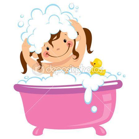 küvet küvet ve saç yıkama bebek çocuk kız — Stok İllüstrasyon #50365971