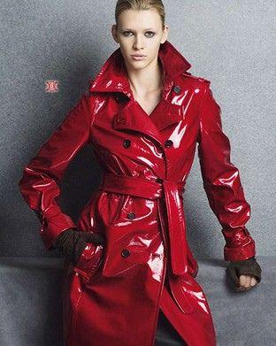 Red PVC Raincoat   ファッションアイデア   Pinterest