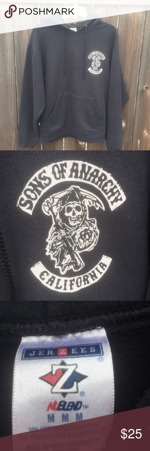 """SONS OF ANARCHY BLACK SWEATSHIRT SZ M SONS OF ANARCHY CALIFORNIA BLACK SWEATSHIRT SZ M-  HOODIE FRONT LENGTH 24.5"""" ARMPIT TO ARMPIT 22.5"""" DRAWSTRING- SONS OF ANARCHY  Tops Sweatshirts & Hoodies"""