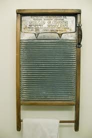 old washboard as towel rack