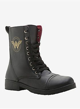 """These are some serious butt kicking boots, and they clearly have Wonder Woman's stamp of approval. The black combat boots have a gold foil Wonder Woman logo on the outside, lace-up front closure and burgundy lining with gold repeating Wonder Woman logo design. 100% polyurethane upper; 100% PVC outsole 8 1/2"""" tall Imported Listed in women's sizes"""