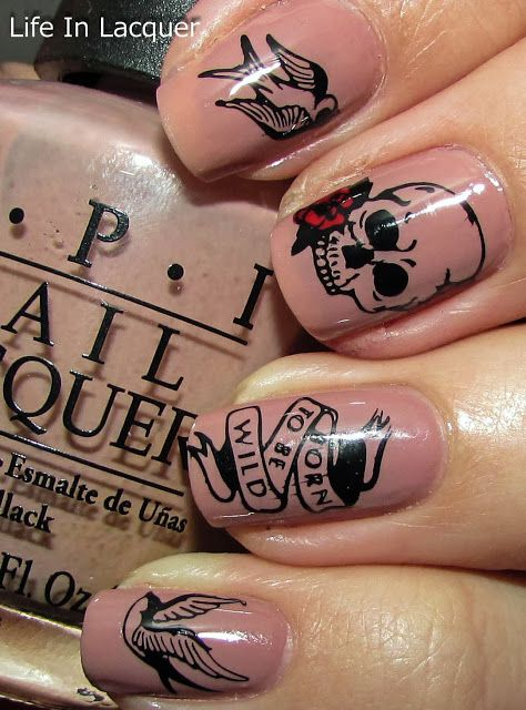 Life in Lacquer: Born To Be Wild!! Tattoo Inspired Nail Stamping