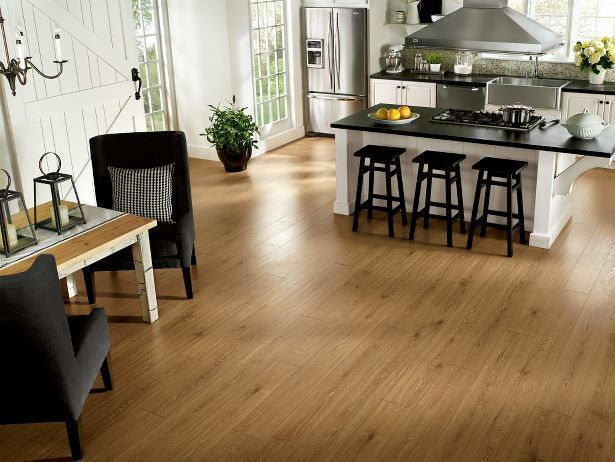 New England Long Plank - Boston Tea Laminate wood floor.  Beautiful, durable and a lot of times quite affordable.