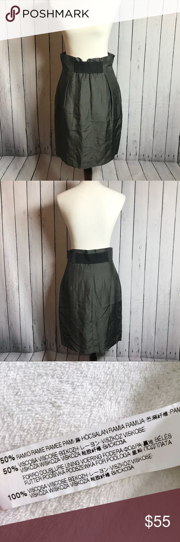 """NWT Zara Pencil Skirt Pencil skirt with electric stretch band waist Linen silk like (see tag photo for fabric material) Gathered waist   Waist: 15"""" Hips: 18"""" Length: 23""""  New with tags so excellent condition. Teeny tiny snag that is not anything really near zipper. See photo. Just being thorough though with detail. Zara Skirts Pencil"""