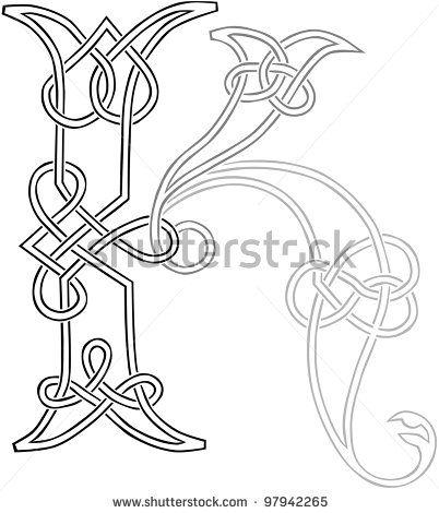 A Celtic Knot-work Capital Letter K Stylized Outline. Raster Version. - stock photo