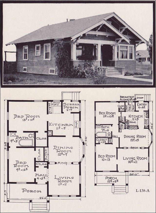 1920s Craftsman Bungalow House Plans 725 best