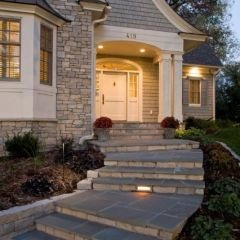 curved walking path, color of wood shingles, white mouldings