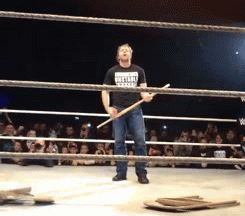 BEHOLD... THE LUNATICS... DEAN AMBROSE ON KENDO AND JERICHO ON STEEL CHAIR... TAKE IT AWAY BOYS<3