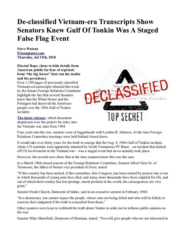 #De-classified Vietnam-era Transcripts Show Senators Knew Gulf Of Tonkin Was A Staged False Flag Event   INFOWARS.COM  BECAUSE THERE'S A WAR ON FOR YOUR MIND