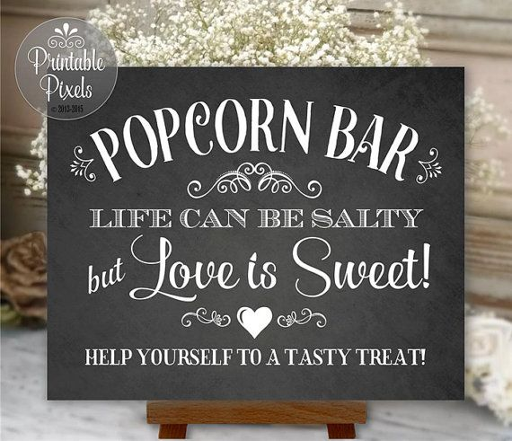 Popcorn Bar Sign Chalkboard Wedding Party by PrintablePixels