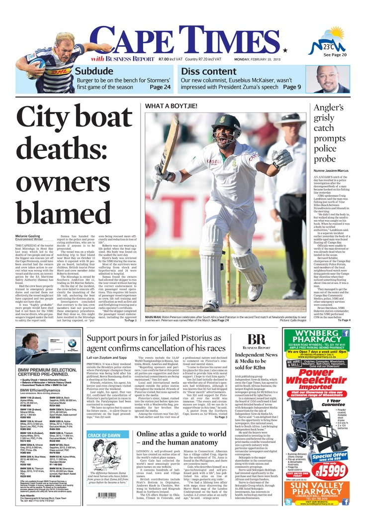 News making headlines: City boat deaths: owners blamed