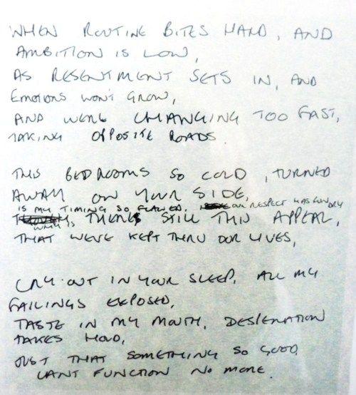 Love Will Tear Us Apart - Ian Curtis' original handwriting