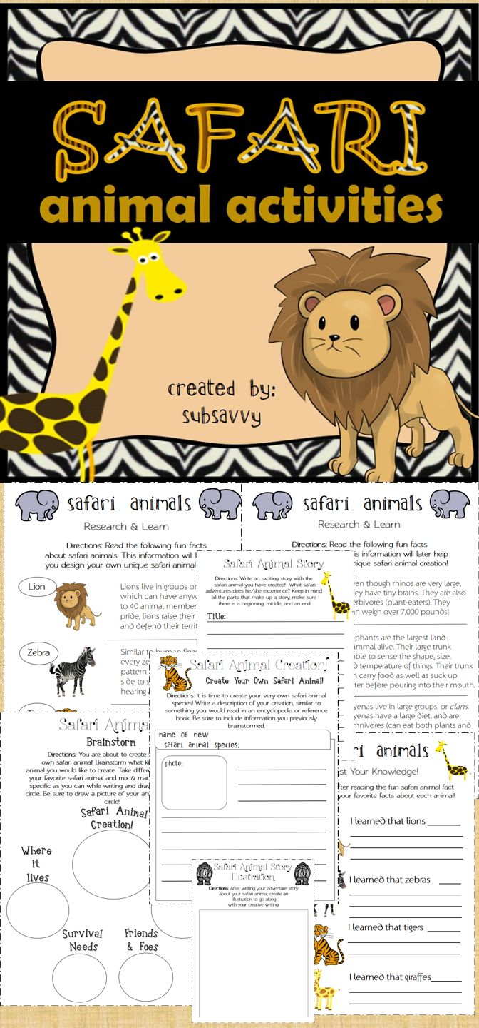 Safari and Wild Animals Activities~  Create Your Own Safari Animal!   Great for 1st through 5th grade!   Common Core Aligned!   CCSS.ELA-Literacy  W. 1.2, W.2.5, W.2.2, W.3.2 Write informative/explanatory texts to examine a topic and convey ideas and information clearly.