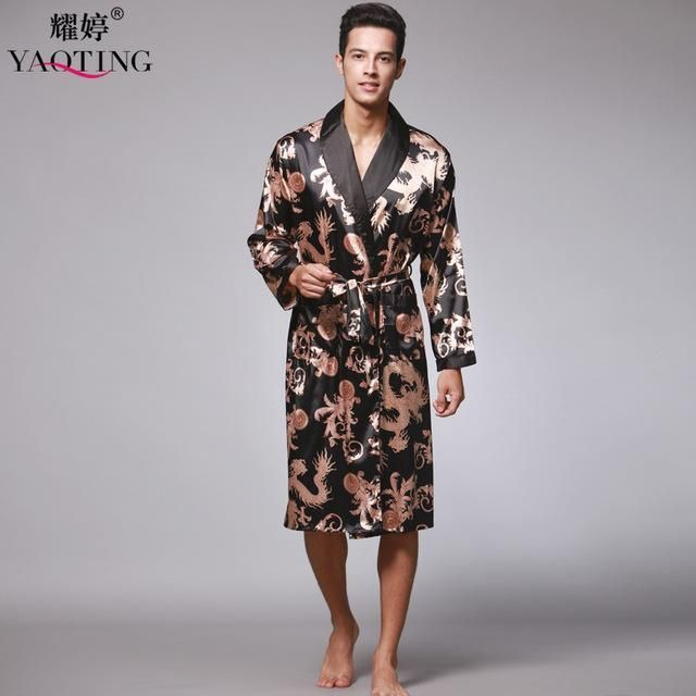 Men Bathrobe Robes Faux Silk Nightgown Long Sleeve Chinese Dragon Print Comfy Kimono Men Pajamas Gray