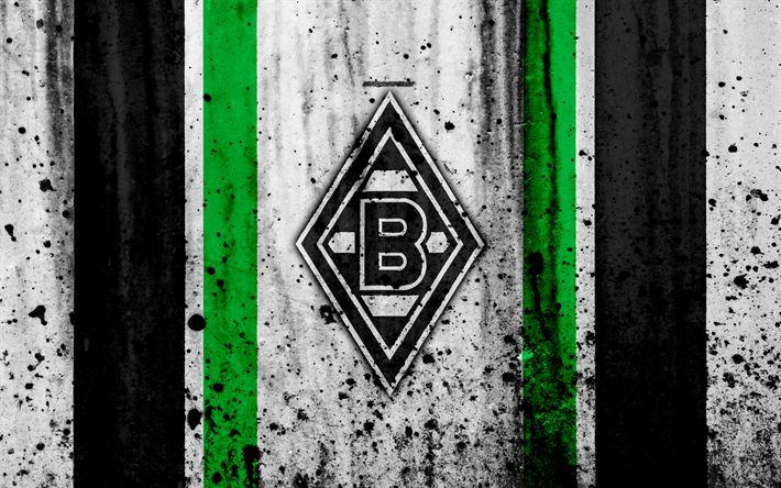 Download wallpapers FC Borussia Monchengladbach, 4k, logo, Bundesliga, stone texture, Germany, Borussia Monchengladbach, soccer, football club, Borussia Monchengladbach FC
