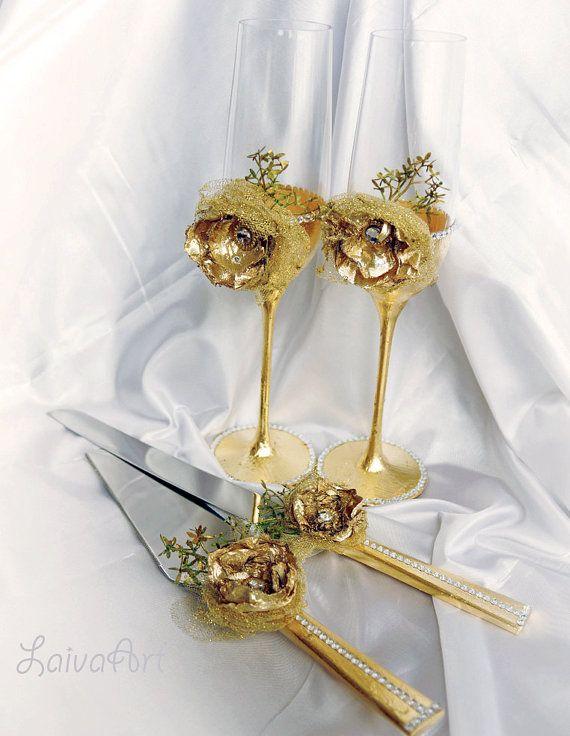 Gold Wedding Champagne Flutes Wedding Champagne Glasses Gatsby Style Wedding…