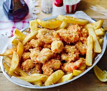 Homemade scampi and chips